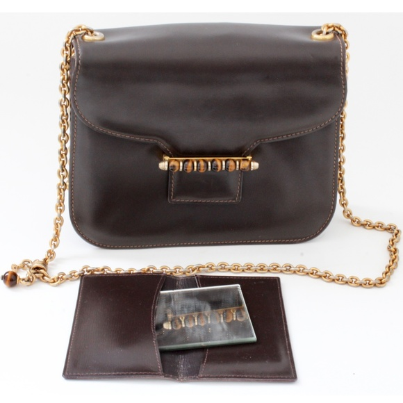 a2f521c9286c Gucci Bags | Brown Leather Bag Tigers Eye Clasp Mirror | Poshmark